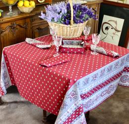 Marat Avignon Bastide Burgundy Square 150x150cm COATED Tablecloth Made in France