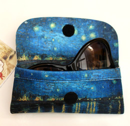 Vincent Van Gogh Starry Night on the Rhone Soft Velour Glasses  Case Made in France