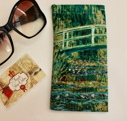 Claude Monet Water Lilies and Japanese Bridge Soft Velour Sunglasses Pouch Made in France