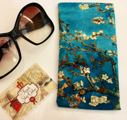 Vincent van Gogh Blossoming Almond Tree Soft Velour Sunglasses Pouch Made in France