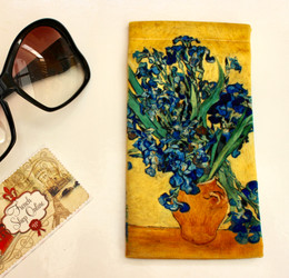 Vincent van GoghVase with Irises Soft Velour Sunglasses Pouch Made in France