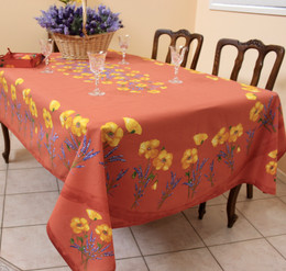 Poppy Rust French Tablecloth155x250cm 8seats COATED Made in France