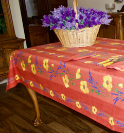 Poppy Rust Linear French Tablecloth 155x250cm 8Seats Made in France