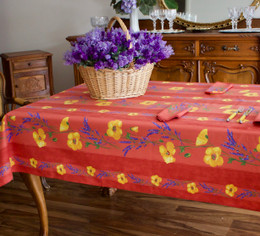Poppy Rust Linear French Tablecloth 155x250cm 8seats COATED Made in France