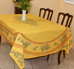 Clos des Oliviers Yellow French Tablecloth 155x250cm 8seats Made in France