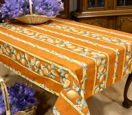 Lemon Orange Linear French Tablecloth 155x250cm 8seats COATED Made in France