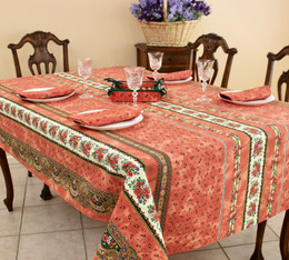 Marat Tradition Rust French Tablecloth 155x250cm 8Seats Made in France