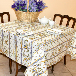 Moustiers Blue Square Tablecloth 150x150cm COATED Made in France
