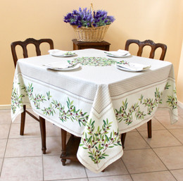 Nyons Ecru Square Tablecloth 150x150cm COATED Made in France