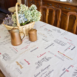 Carte des Vins Grey French Tablecloth 155x300cm 10Seats Made in France