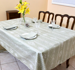 Marat Manoir Lin French Tablecloth 155x300cm 10seats COATED Made in France