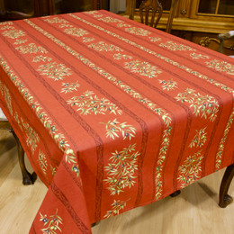 Clos des Oliviers Red 155x350cm 12seats COATED French Tablecloth Made in France