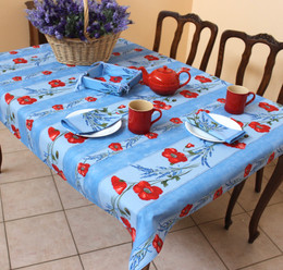 Poppy Light Blue 155x120cm  4-6Seats Small Tablecloth Made in France