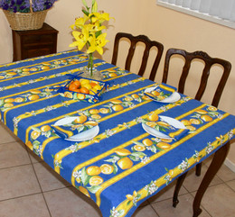Lemon Blue 155x120cm Small Tablecloth COATED Made in France