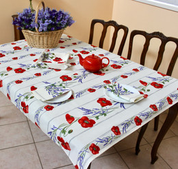 Poppy Ecru 155x120cm Small Tablecloth COATED Made in France
