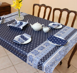 Marat Bastide Navy 155x120cm Small Tablecloth COATED Made in France