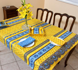 Marat Tradition Yellow 155x120cm Small Tablecloth COATED Made in France