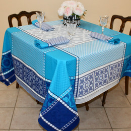 Marius Blue 160x160cm SquareJacquard French Tablecloth Made in France