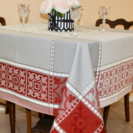 Marius Rust 160x160cm SquareJacquard French Tablecloth Made in France