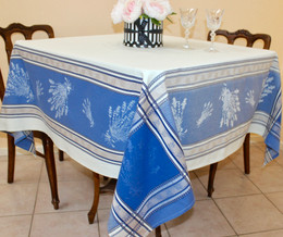 Senanques White 160x160cm SquareJacquard French Tablecloth Made in France