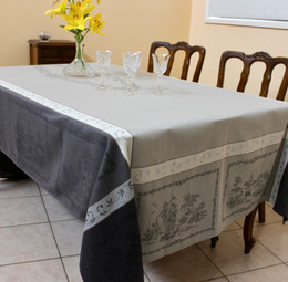 Romance Black Jacquard French Tablecloth 160x300cm 10seats Made in France