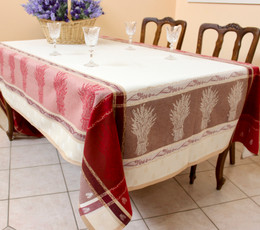 Senanques  Burgundy Jacquard French Tablecloth 160x300cm 10seats Made in France
