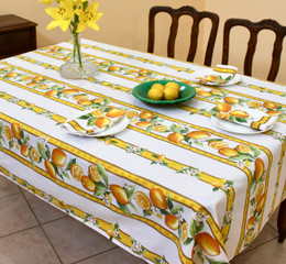 Lemon White LinearnFrench Tablecloth  155x250cm 8Seats Made in France