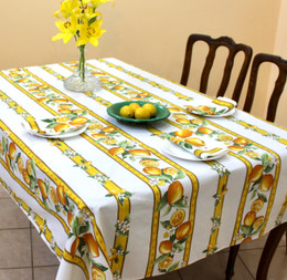 Lemon White 155x350cm 12Seats French Tablecloth Made in France