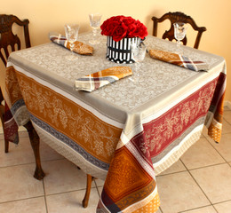 Coteau Cinnamon 160x160cm SquareJacquard French Tablecloth Made in France