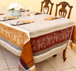 Coteau Cinnamon Jacquard FrenchTablecloth 160x200cm  6seats Made in France