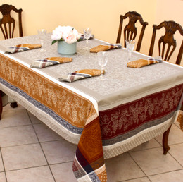 Coteau Cinnamon Jacquard French Tablecloth 160x300cm 10seats Made in France