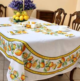 Lemon White French Tablecloth 155x250cm 8seats COATED Made in France