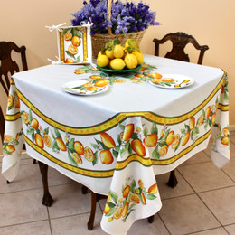 Lemon White  XXL Square French Tablecloth 180x180cm COATED Made in France