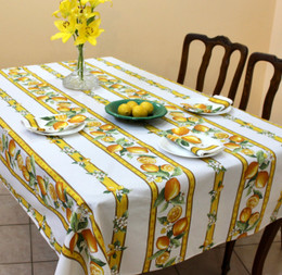 Lemon White Linear French Tablecloth 155x250cm 8seats COATED Made in France