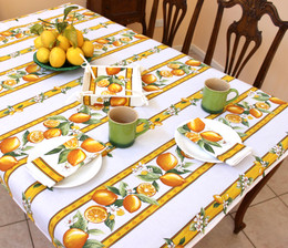 Lemon White 155x120cm 4-6Seats Small Tablecloth COATED Made in France