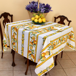 Lemon White Square Tablecloth 150x150cm COATED Made in France