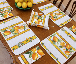 Lemon White Quilted Placemat COATED Made in France
