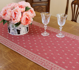 Durance Pink  45x154cm Jacquard Runner Made in France