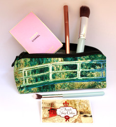 Claude Monet Japanese Bridge and Water Lilies Velour Cosmetic/Pencil/Glasses Case Made in France