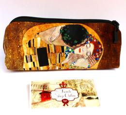 Gustav Klimt Kiss Velour Cosmetic/Pencil/Glasses Case Made in France