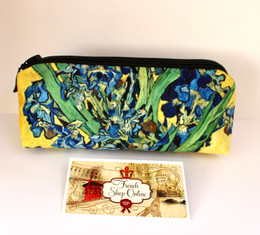 Vincent van Gogh Vase with Irises Velour Cosmetic/Pencil/Glasses Case Made in France