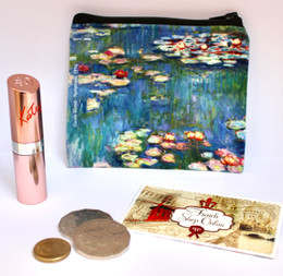 Cloude Monet Nymphas 1 Velour Coin Purse Made in France
