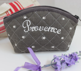 Coin/Cosmetic Bag Calissons Grey Made in France