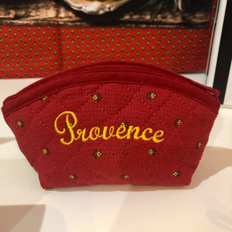 Coin/Cosmetic Bag Calissons Red/Yellow Made in France
