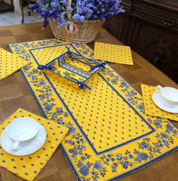 Avignon Yellow 50x100cm Quilted Reversable Runner Made in France