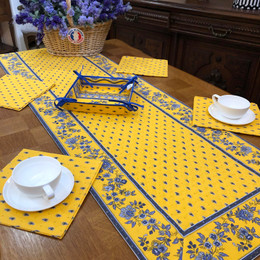 Avignon Yellow 50x160cm Quilted Reversable Runner Made in France
