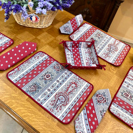 Marat Bastide Burgund Quilted Placemat COATED Made in France