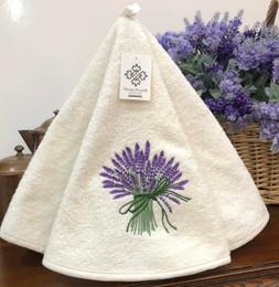 Lavender Ecru French Round Hand Towel