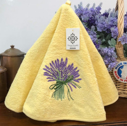 Lavender Yellow French Round Hand Towel