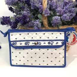 Make-up / Toiletry Bag Large Calissons White/Blue Made in France